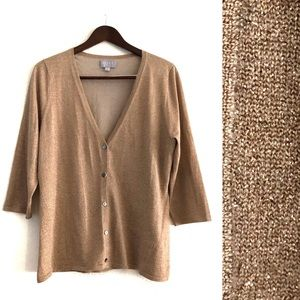 Pure Collection Tan Gold Shimmer Lurex Cardigan